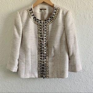 Boston Proper Tweed Cream Silver Jacket